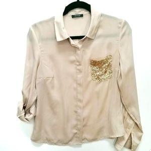 Orsay | Gold Sequin pocket Blouse SZ M